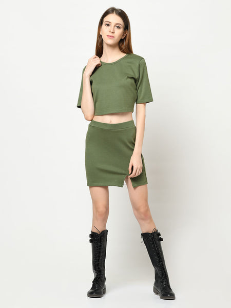 Military Green Top And Skirt Set