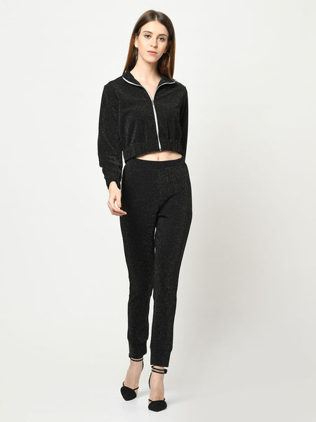 Black Glittarati Silver zip-up jacket with matching black Fitted Pant