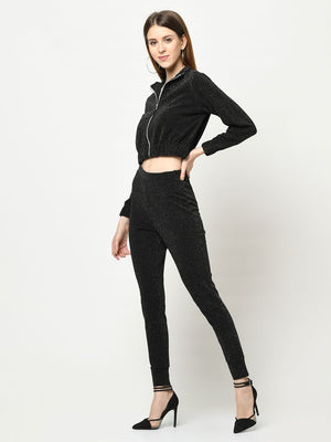 Black Glittarati Silver zip-up jacket with matching black Fitted Pant - Avsoy