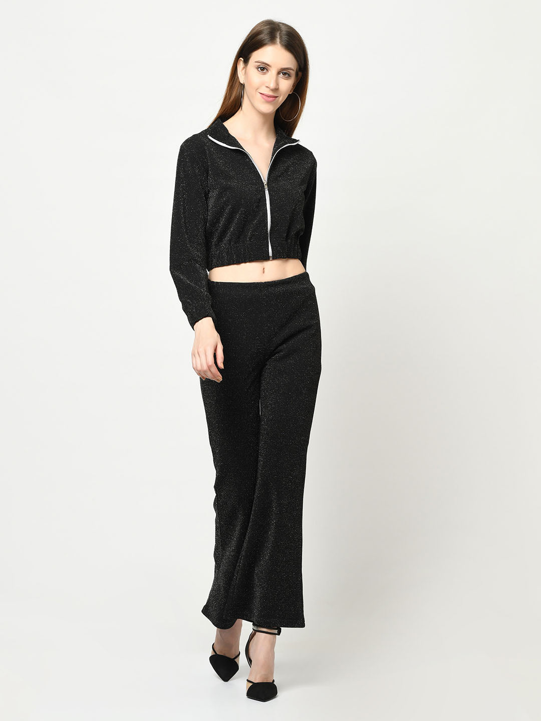 Black Glitterati Zip-Up Jacket With Flare Party Pant - Avsoy