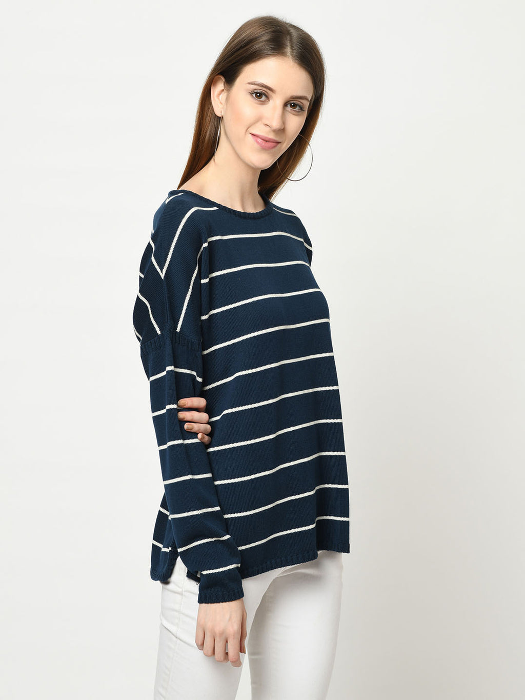 Navy And White Striped Sweater - Avsoy