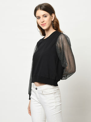 Black Net Cuffed Sleeve Sweatshirt - Avsoy