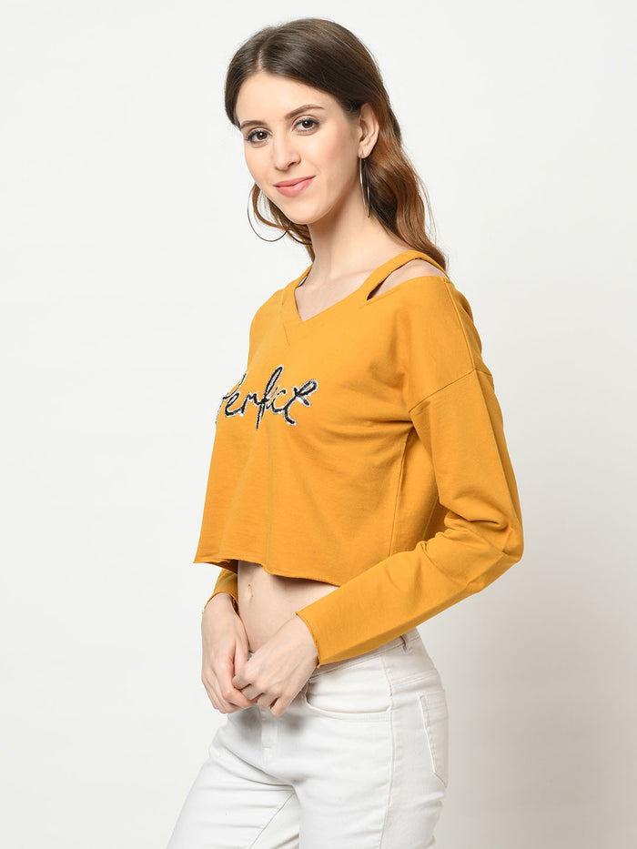 Perfect Mustard Cut-Out V-Neck - Avsoy