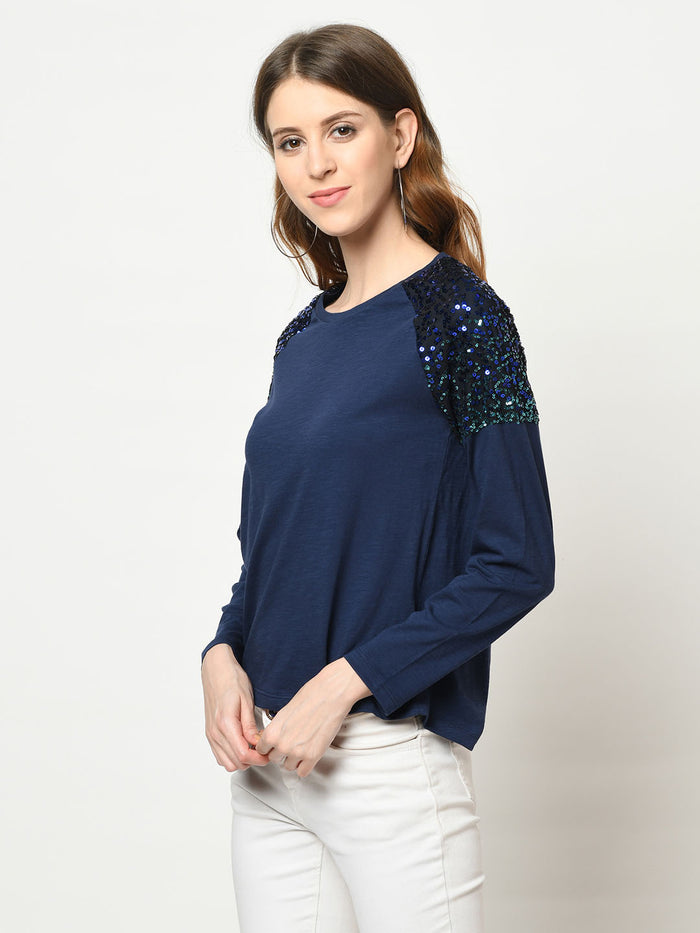 Midnight Blue Sequenced Sholder Top - Avsoy
