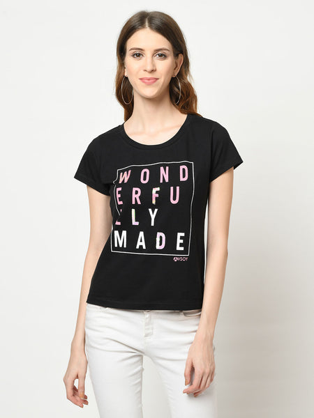 Black And Pink Wonderfully Made Sequence T-Shirt