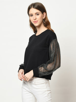 Black Net Sleeved Top