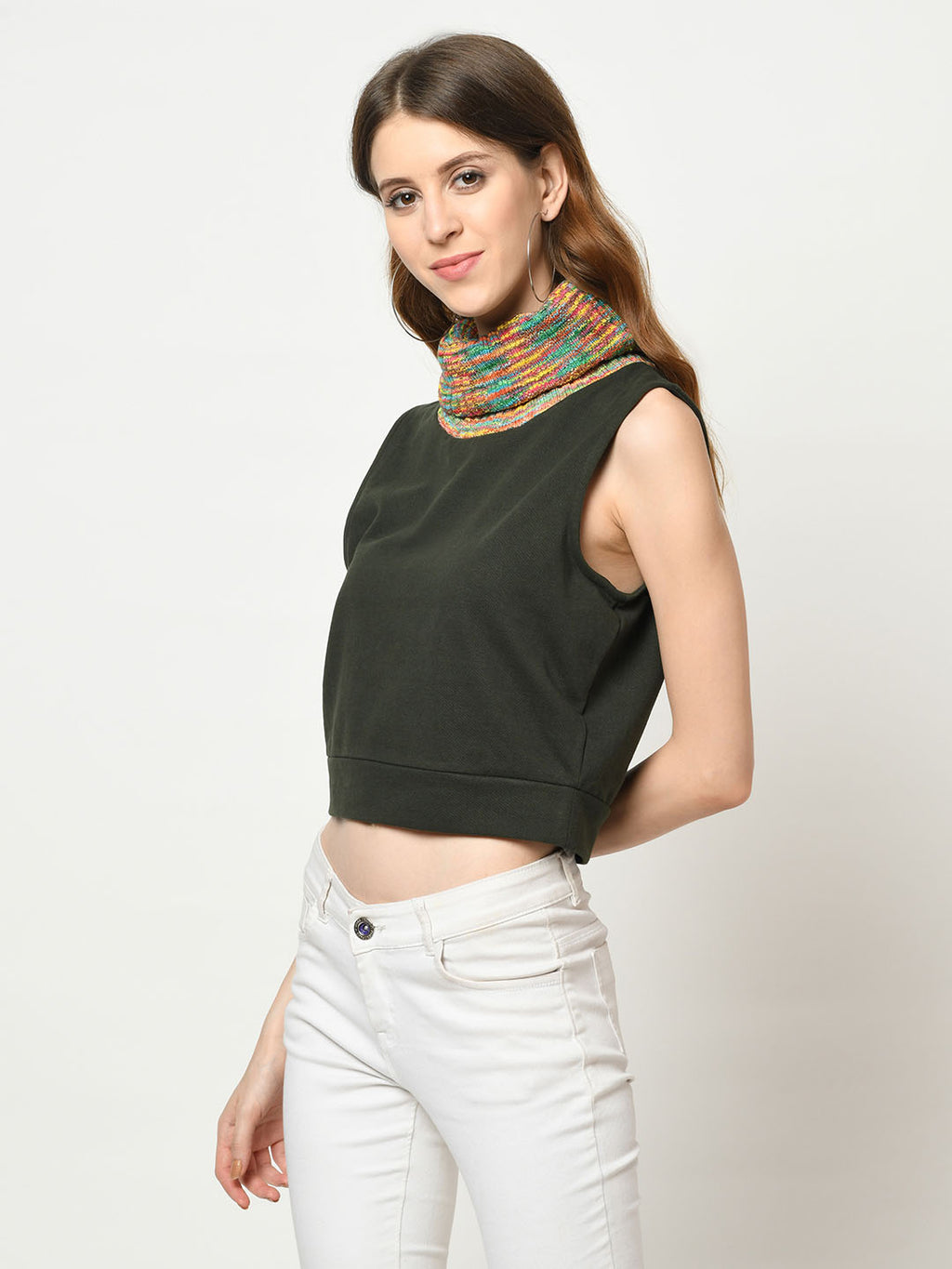 Teal And Yellow Polo Neck On Green Crop Top - Avsoy