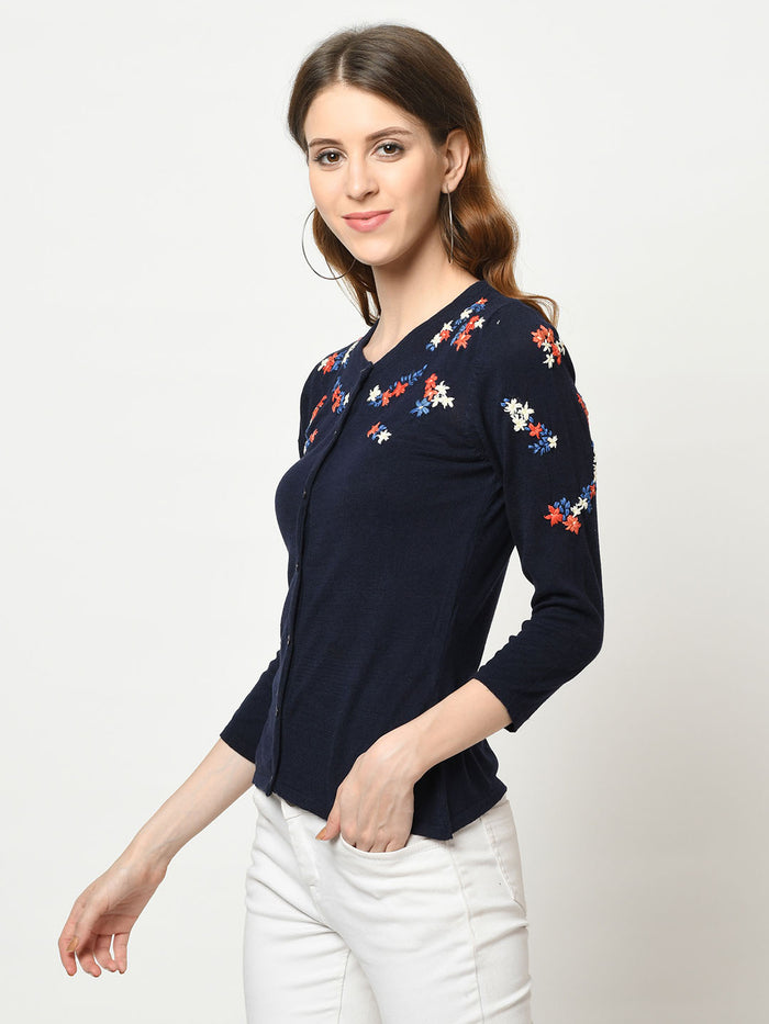 Navy Cardigan With Floral Embroidery