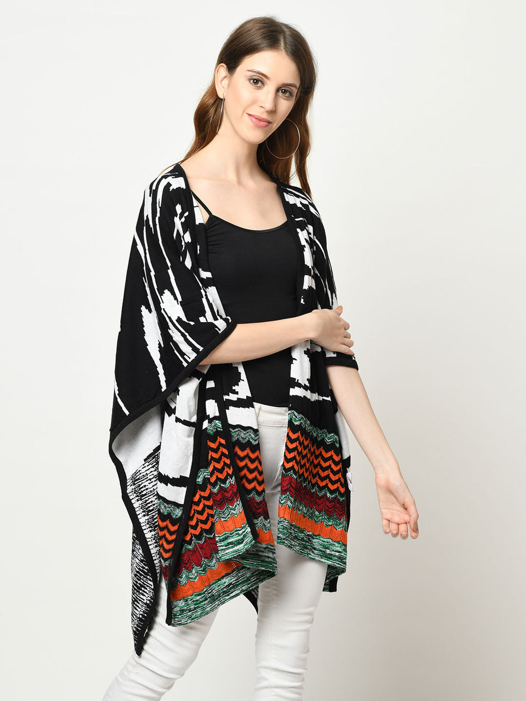 Multi-Pattern Black, White And Orange Shrug - Avsoy
