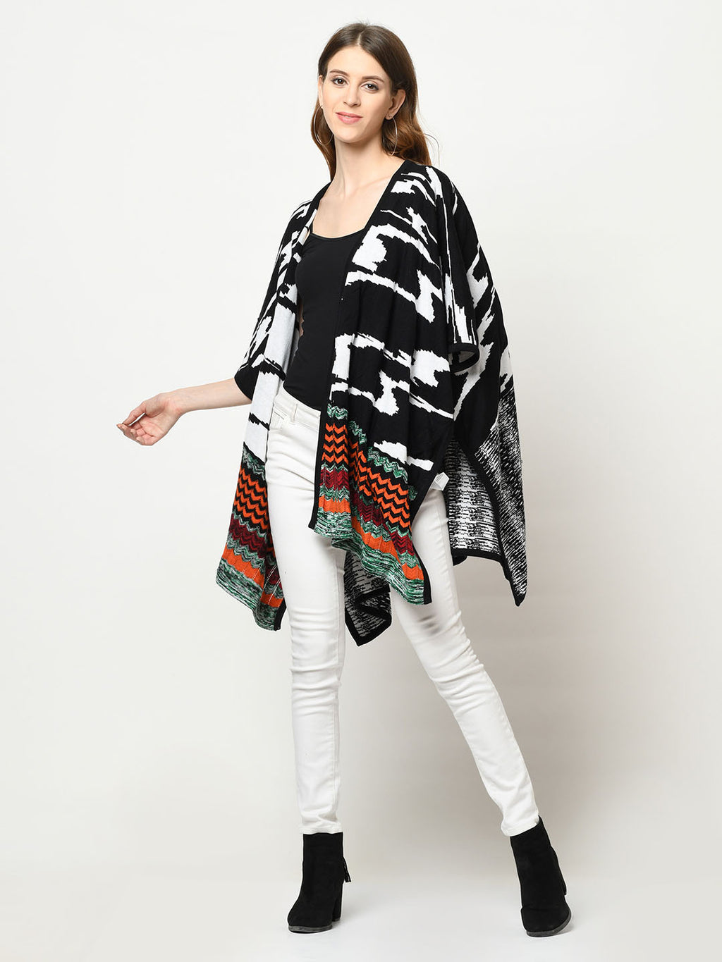 Multi-Pattern Black, White And Orange Shrug