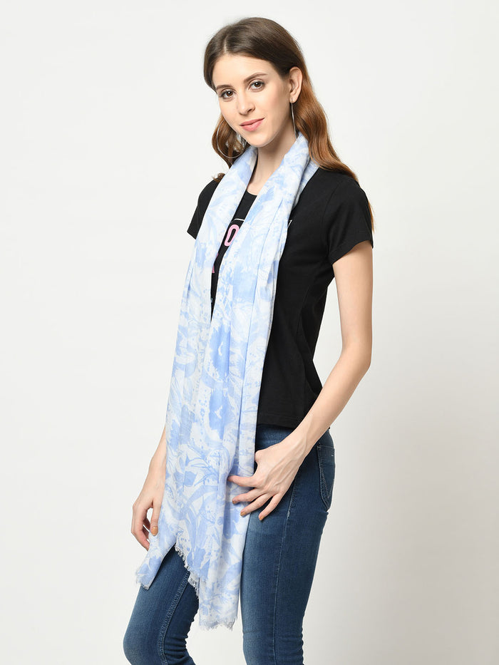 Blue And White Digital Printed Floral Modal Scarf
