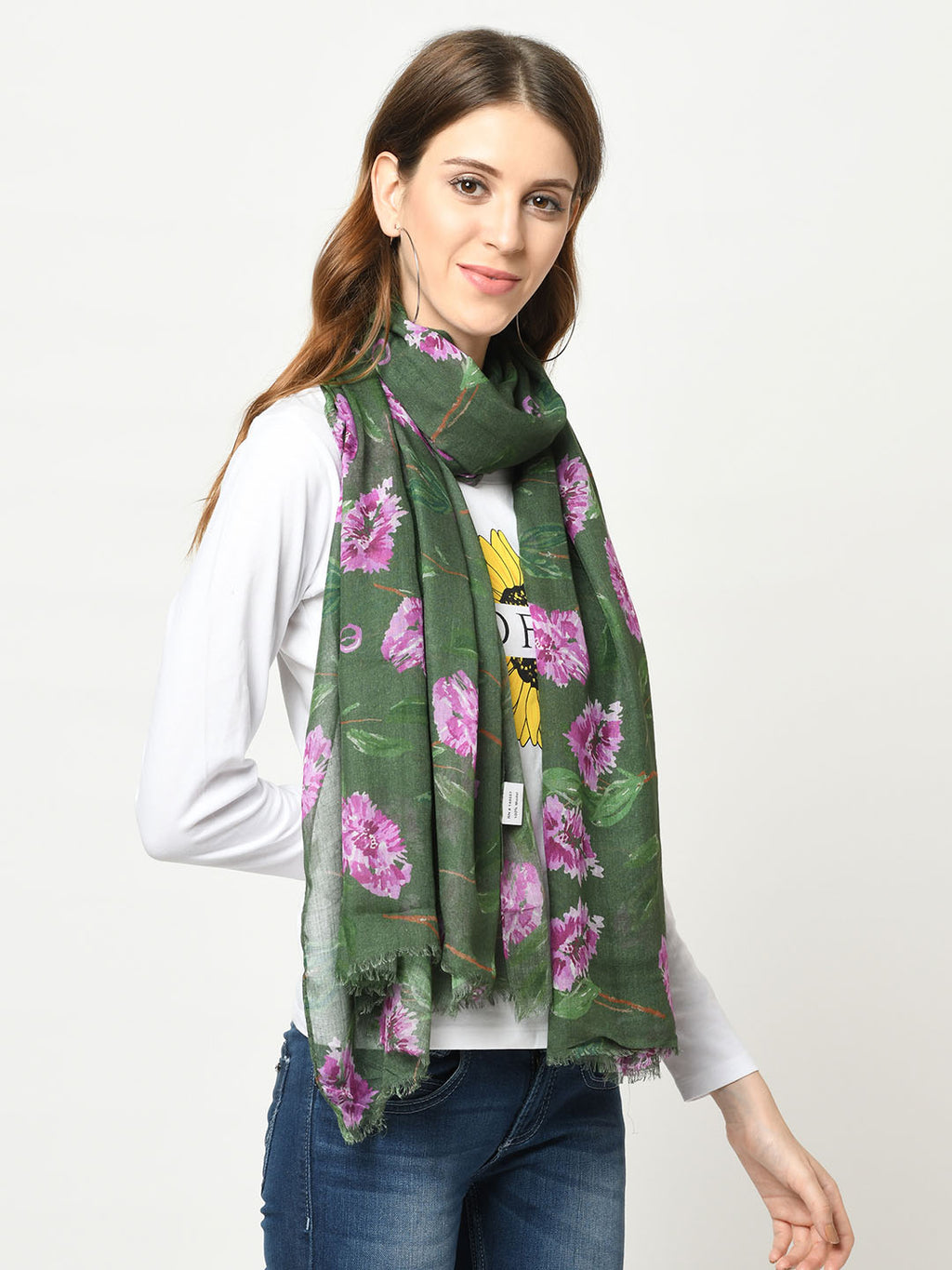 Dark Olive And Fuchsia Digital Printed Floral Modal Scarf