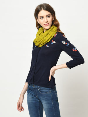 Cable Knitted Mustard Scarf