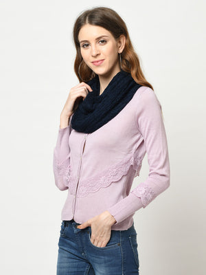 Cable And Pointelle Knitted Navy Scarf - Avsoy