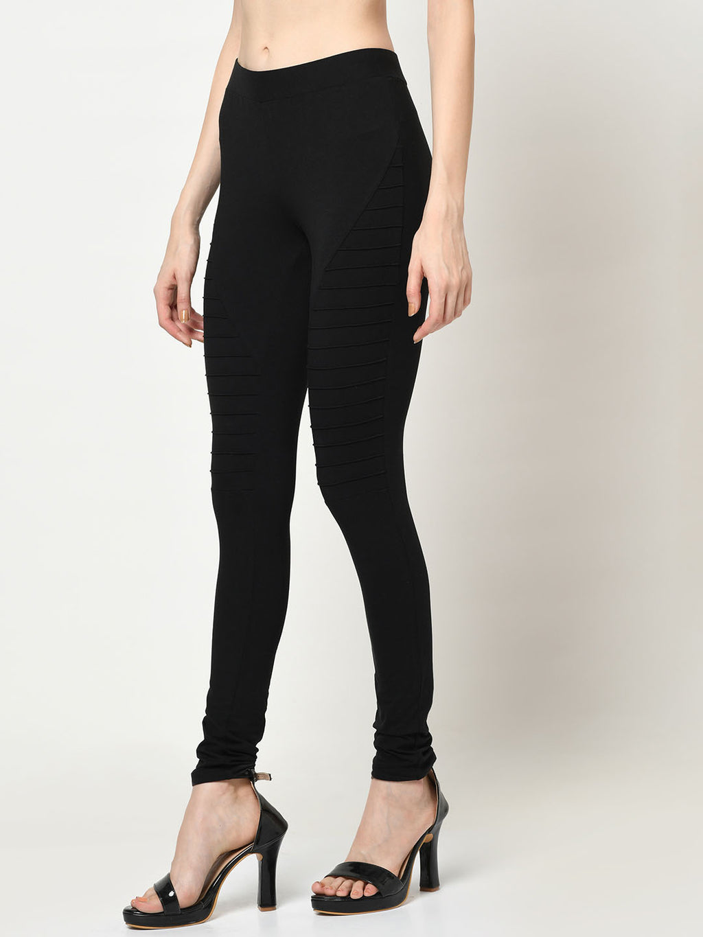 Black Leggings With Lateral Ridges - Avsoy