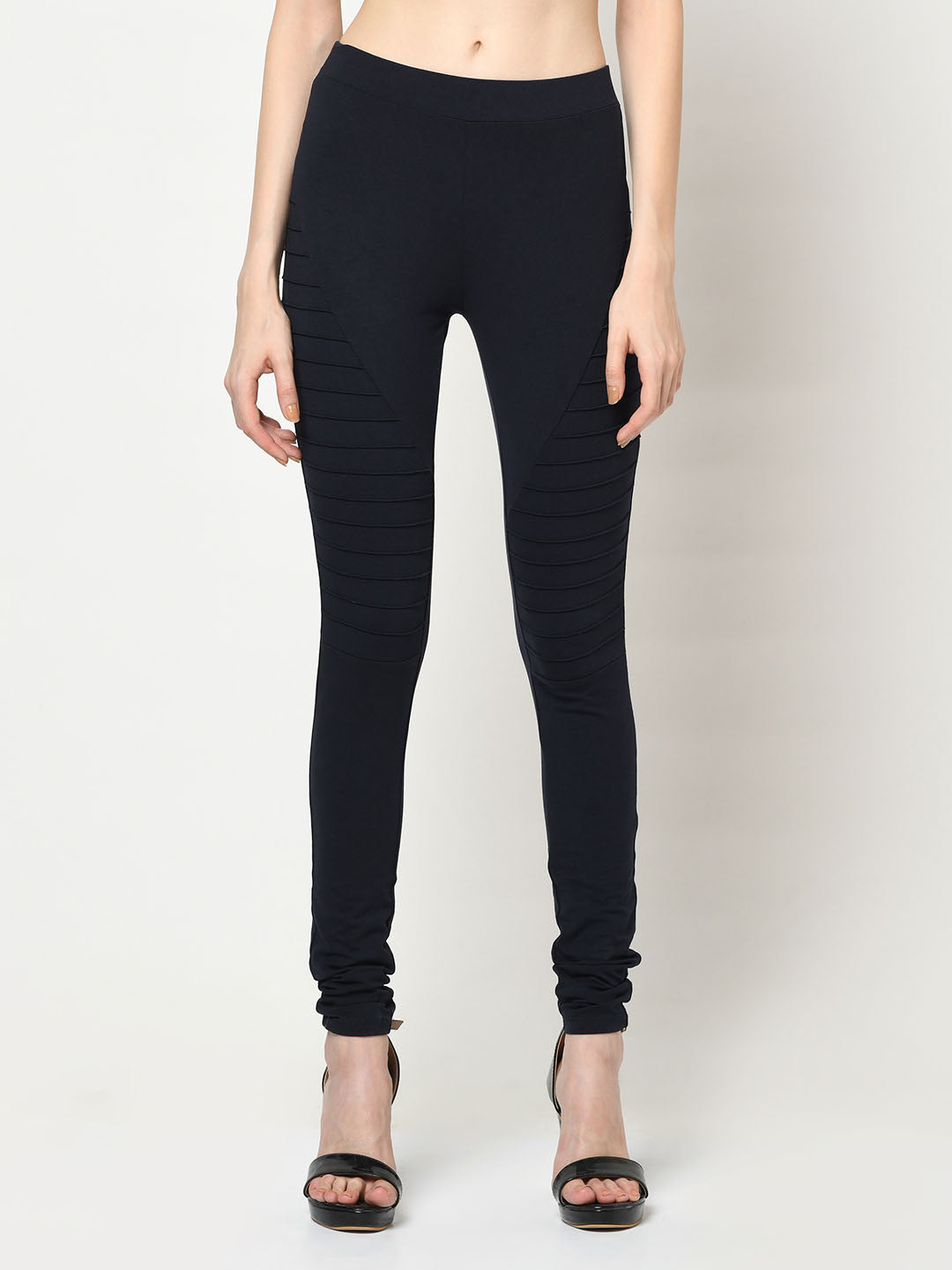 Navy Leggings With Side Ridges - Avsoy