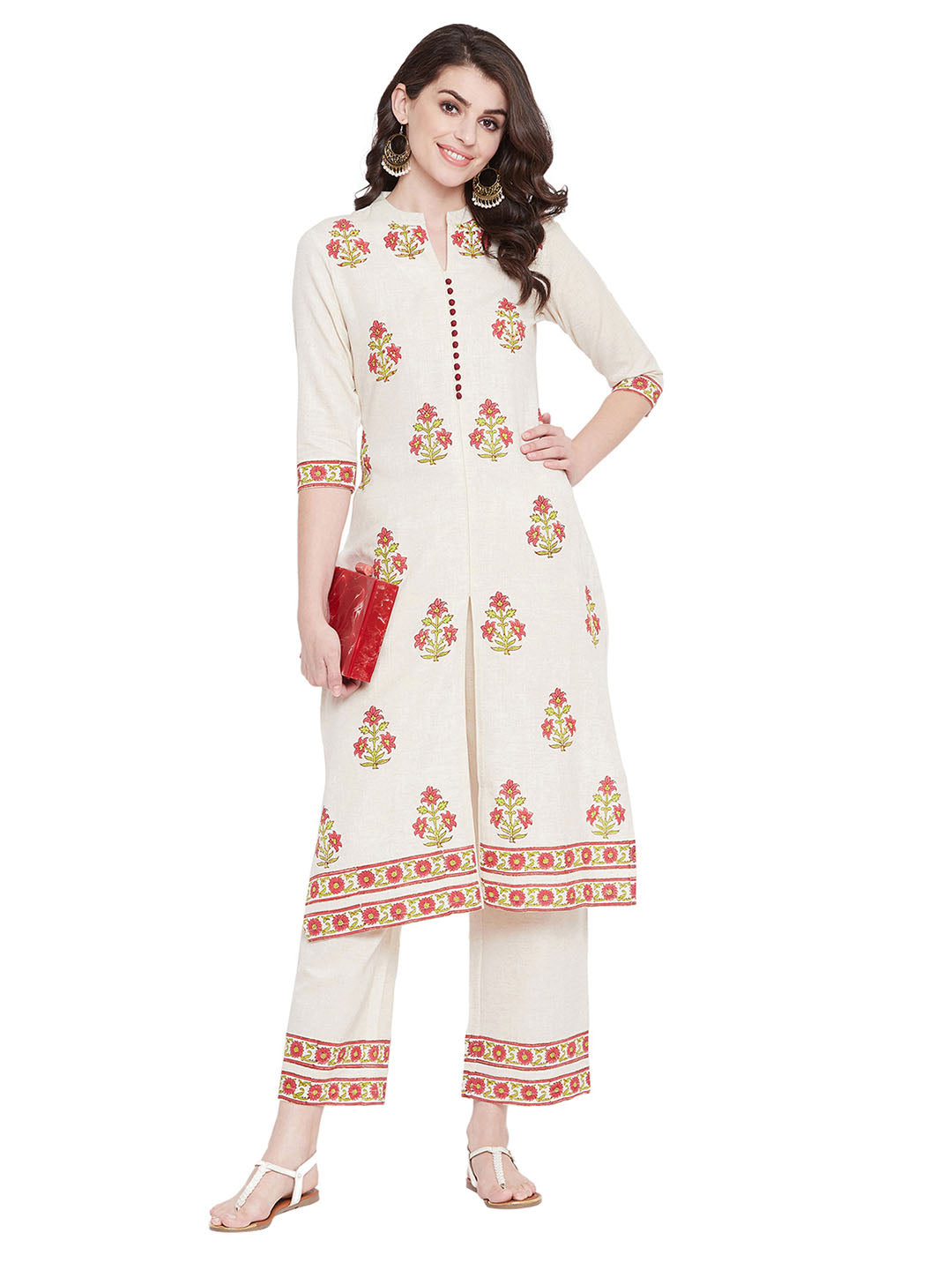 MEESAN Beige-Flex Hand Block Printed Kurta with Palazzo Set for Women
