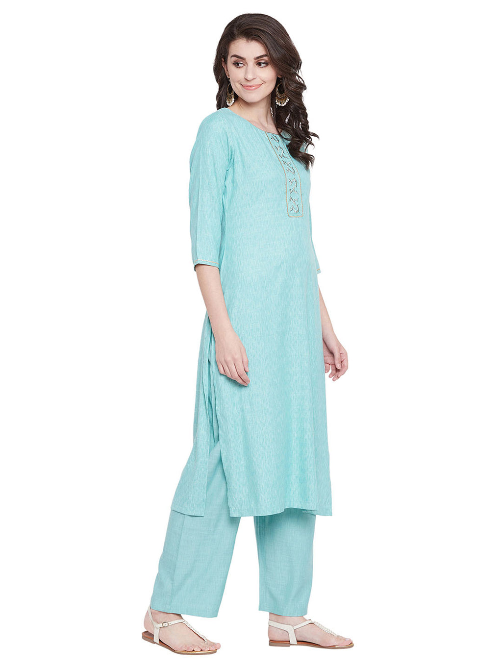 MEESAN Blue Self Dobby Rayon Kurta with Palazzo Set for Women