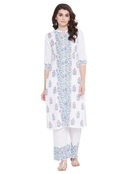 MEESAN Blue-Pink Hand Block Printed Kurta with Palazzo Set for Women