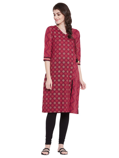 MEESAN Maroon Angrakha Style Cotton Printed Kurti for Women