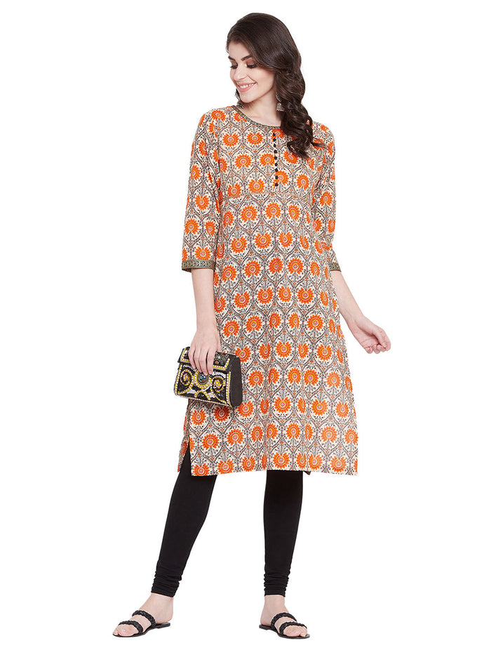 MEESAN Beige-Orange Straight Cotton Printed Kurti for Women