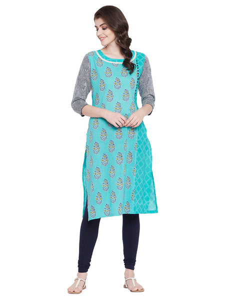 MEESAN Blue Straight Cotton Printed Kurti for Women