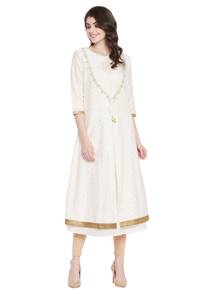 MEESAN Beige-Gold Chanderi A-line Embroidered Kurti for Women