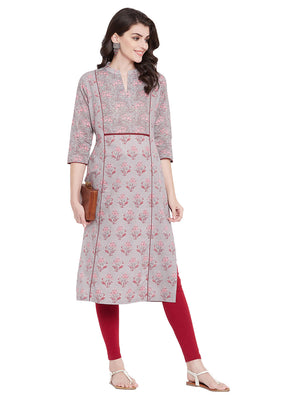 MEESAN Grey Cotton Printed Kurti for Women
