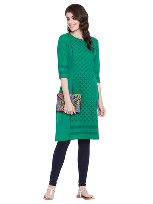 MEESAN Green Handloom Cotton Block Printed Kurti for Women