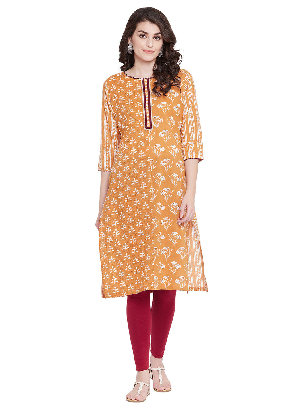 MEESAN Mustard Cotton Printed Kurti for Women
