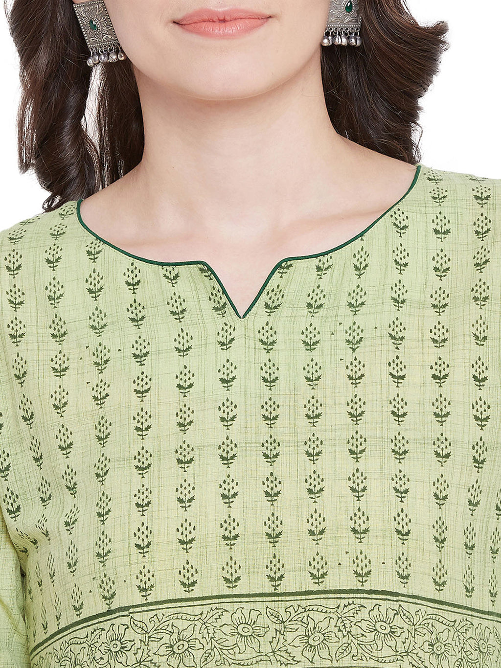 MEESAN Light Green Handloom Printed Kurti for Women