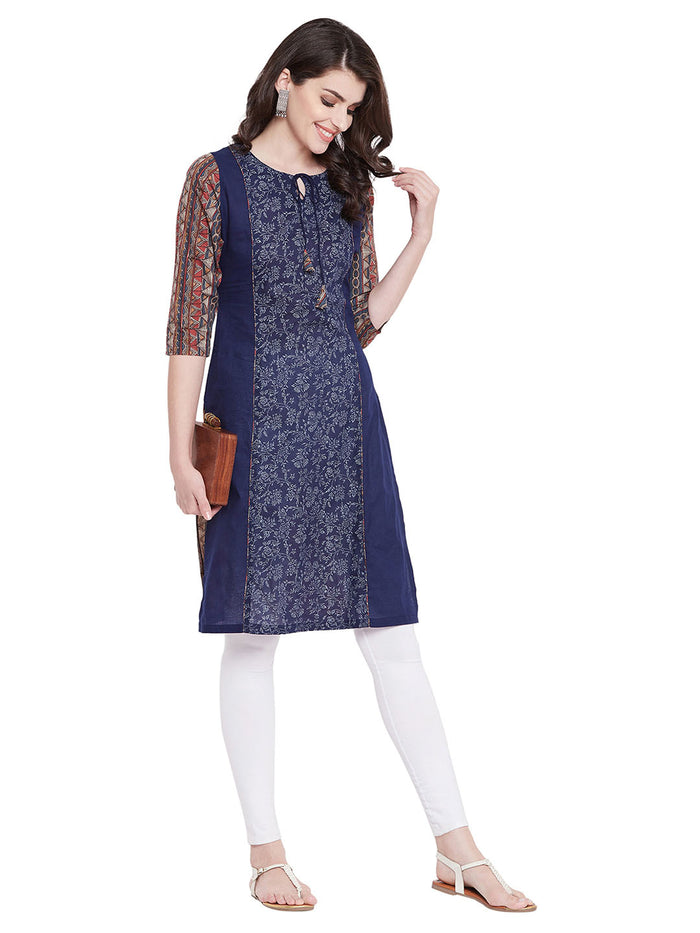 MEESAN Blue Printed Panel Cotton Kurti for Women