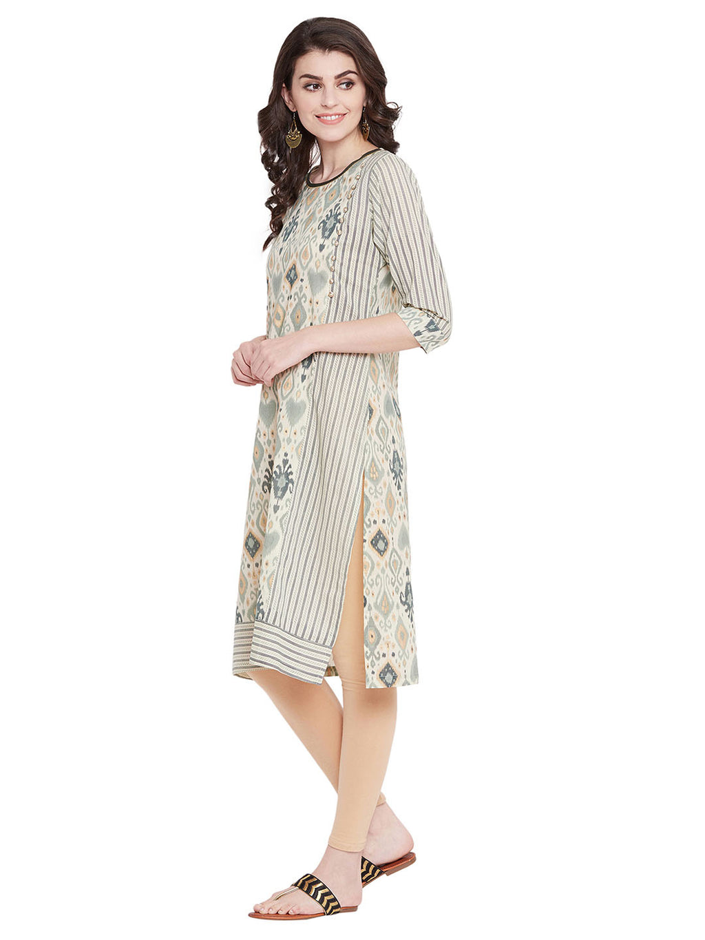 MEESAN Beige-Green Cotton Foil Printed Kurti for Women