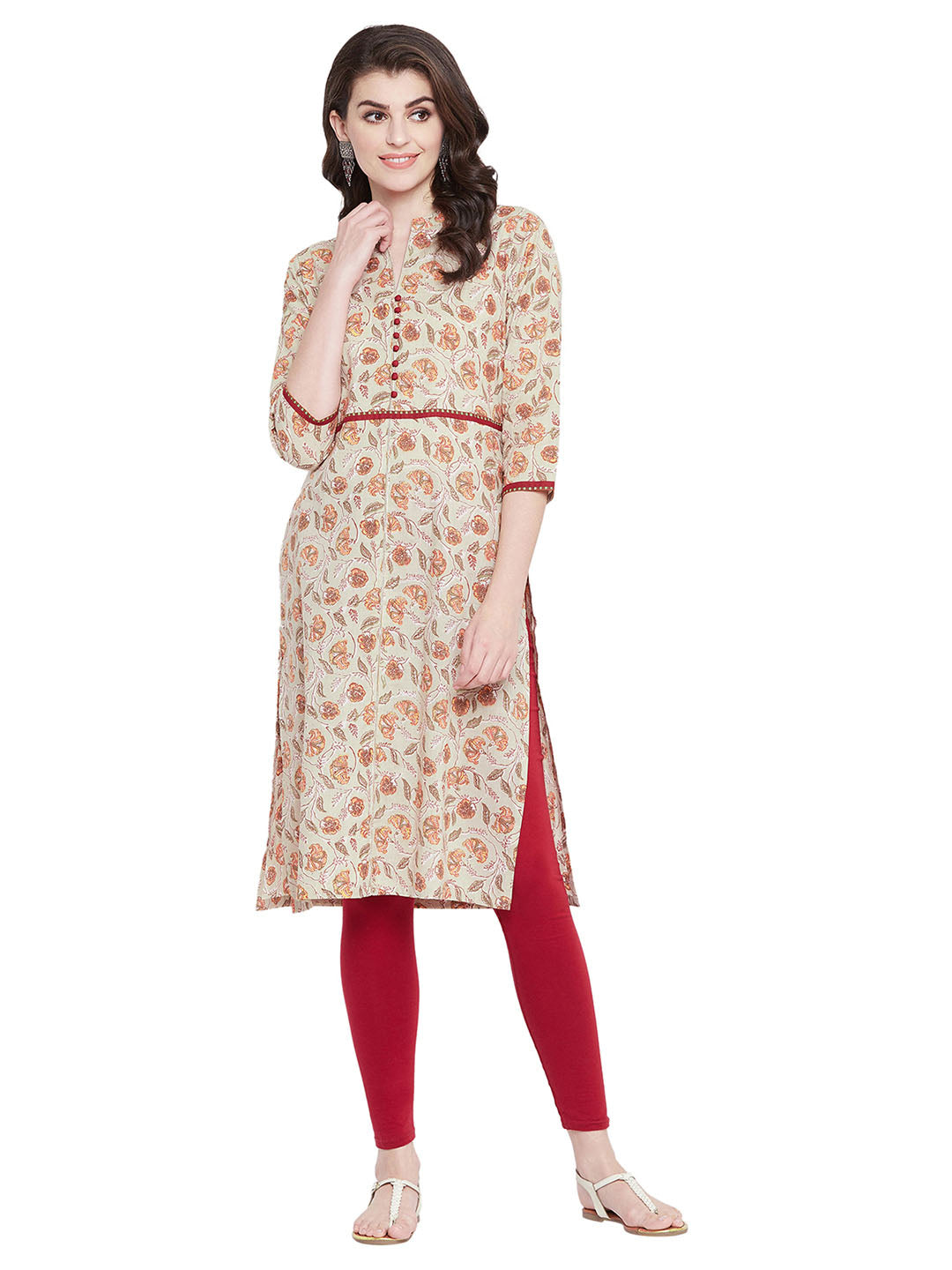 MEESAN Pastel Green Floral Cotton Printed Kurti for Women