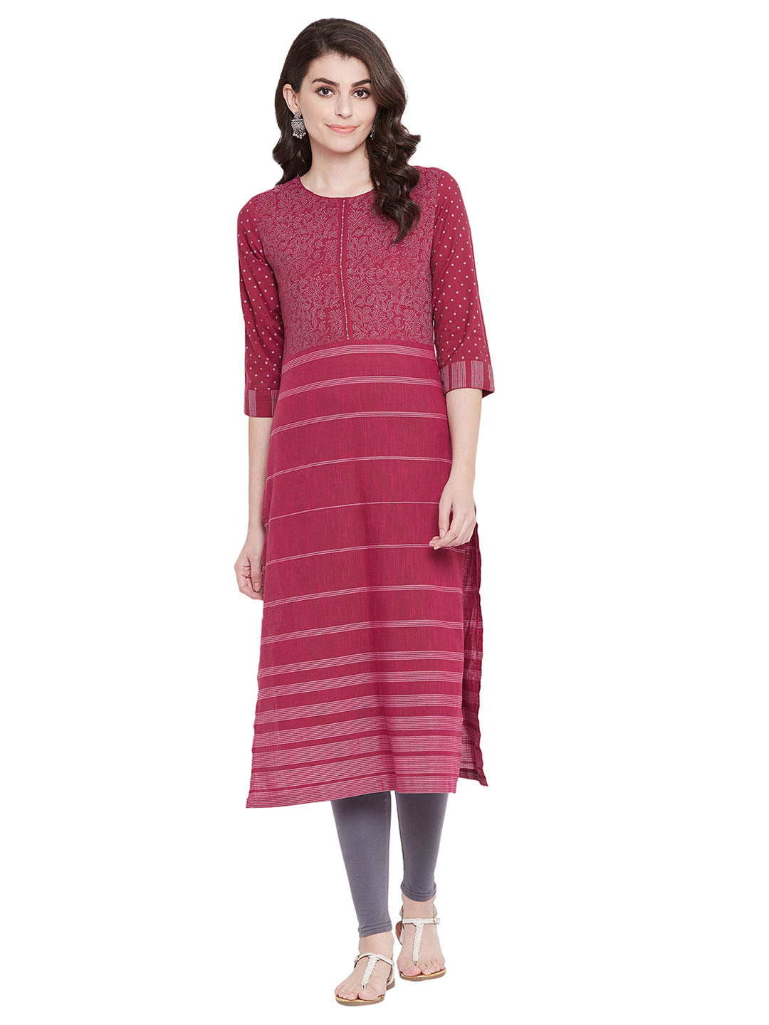 MEESAN Magenta Handloom Cotton Printed Kurti for Women