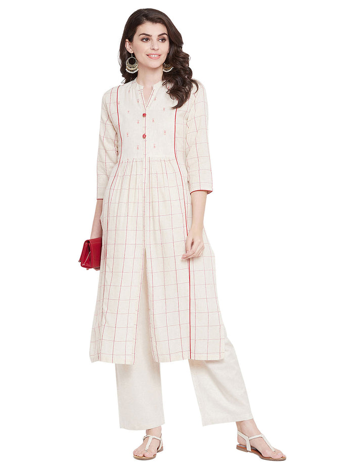 MEESAN Beige Cotton Checked Flex Kurti for Women