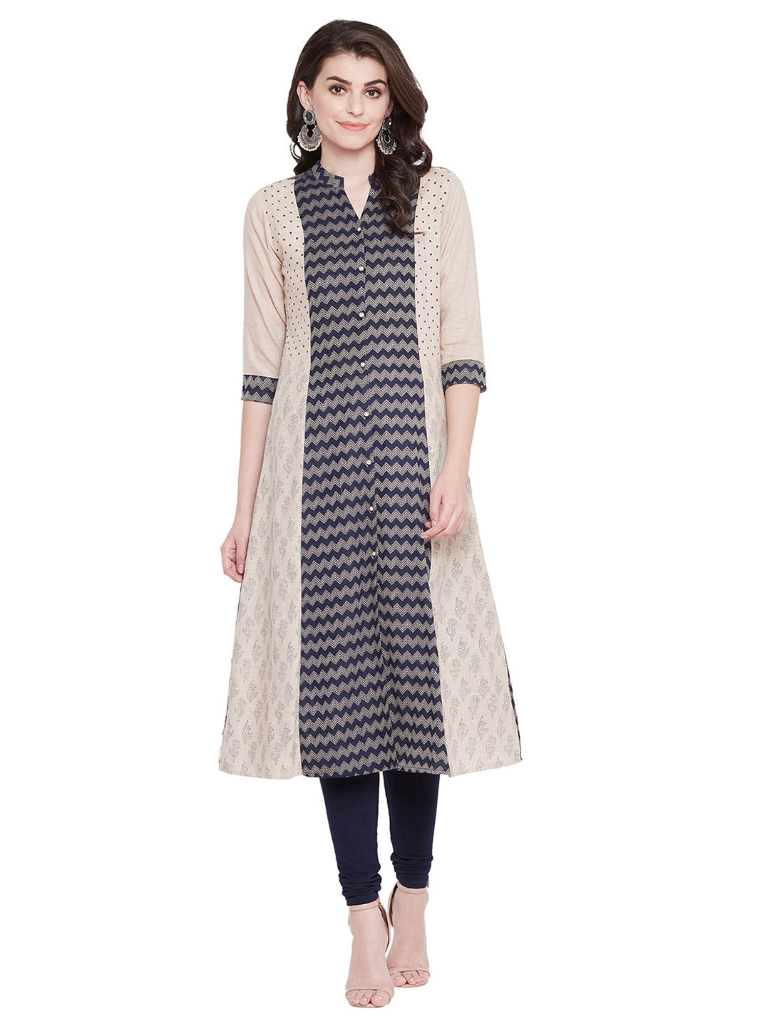 MEESAN Blue-Beige Handloom Block Printed Kurti for Women