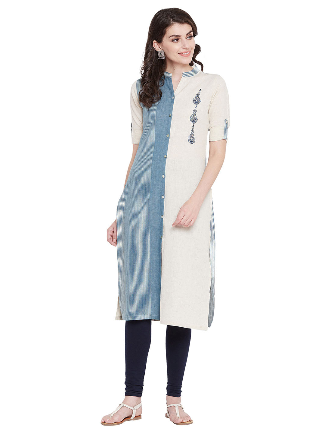 MEESAN Blue-Beige Cotton Striped Kurti for Women