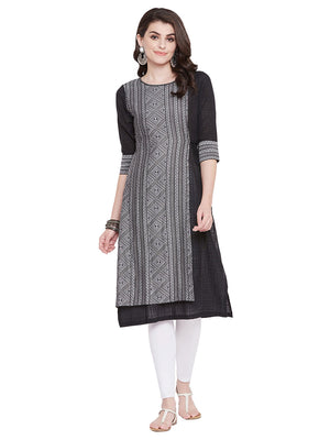 MEESAN Black-Grey Jacquard Cotton Kurti for Women