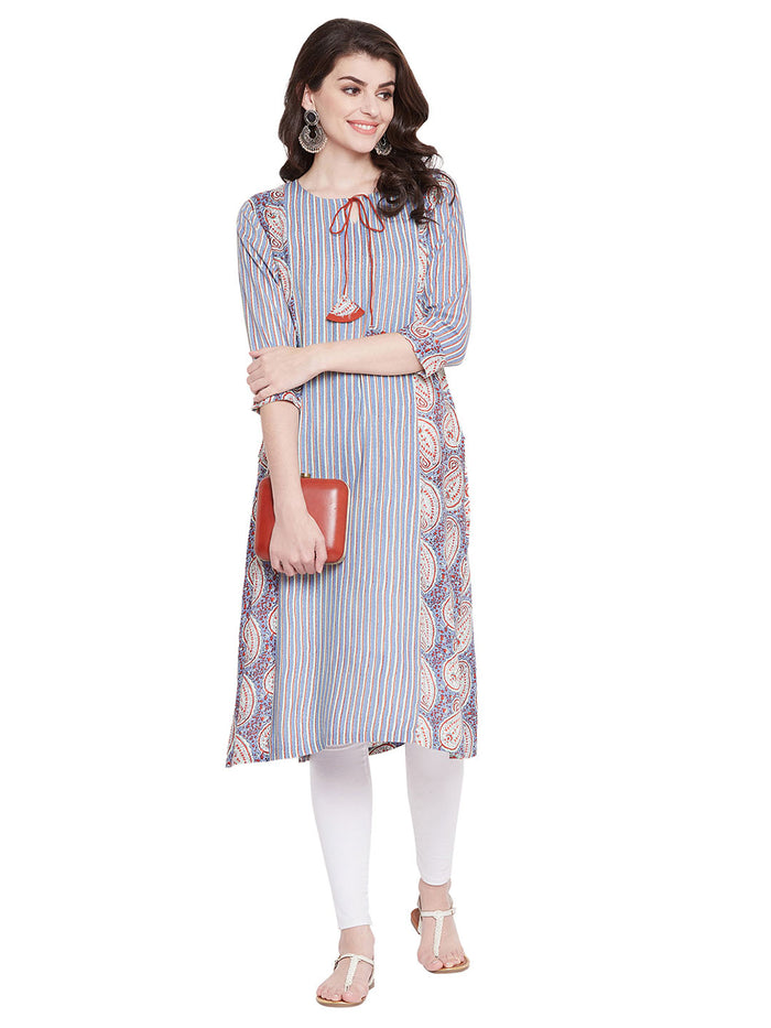MEESAN Blue Striped Printed Rayon Kurti for Women