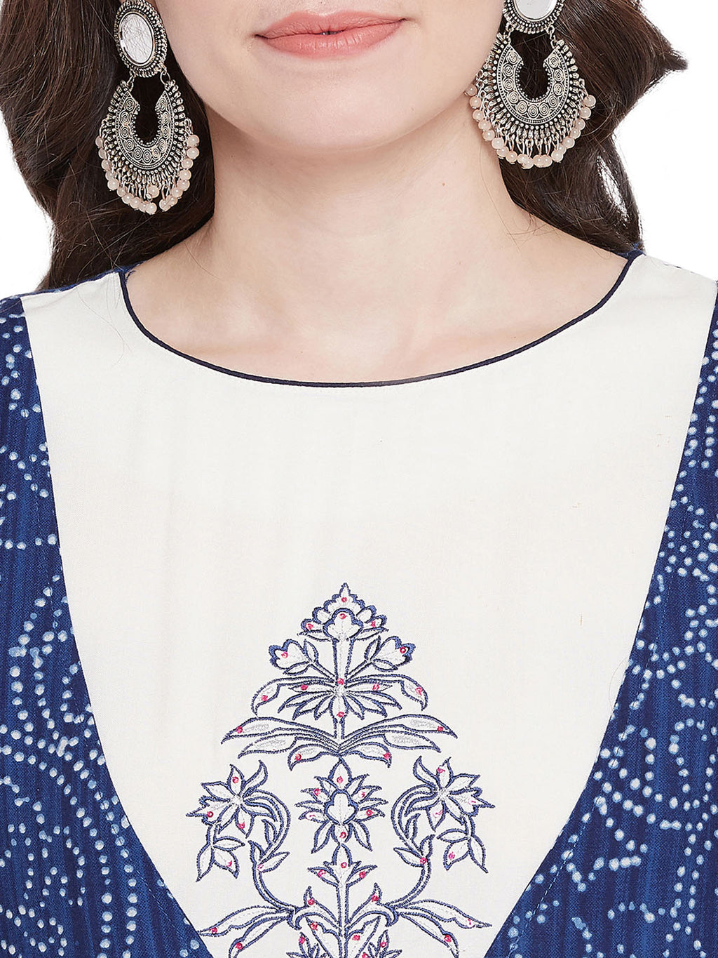 MEESAN Blue-White Double Layer Rayon Bandhani Print Kurti for Women