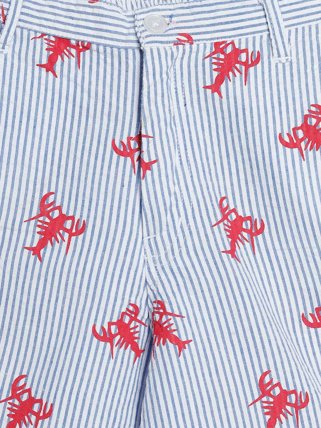 Blue & Red Lobster Seersucker Shorts