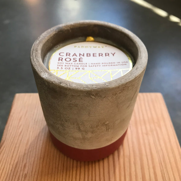 Small Concrete Cranberry Rose Candle