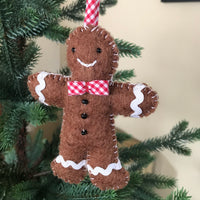 Gingham Gingerbread Felt Ornament
