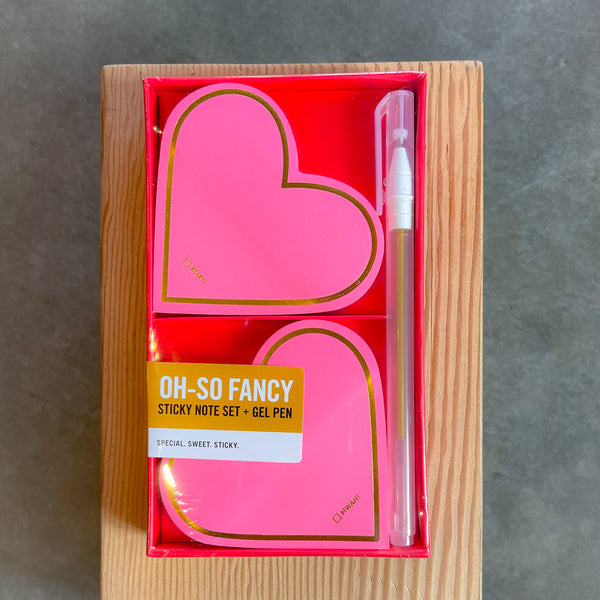 Heart Sticky Notes with Gold Gel Pen