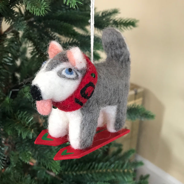 Skiing Husky Felt Ornament