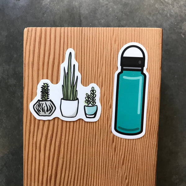 Water Bottle or Potted Plants Vinyl Sticker