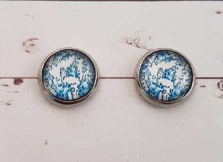 Studs 11mm Blue & White Floral Pattern-6