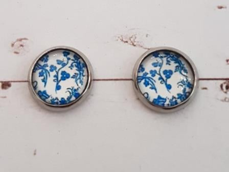 Studs 11mm Blue & White Floral Pattern-4