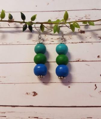 3 Bead Earrings Multicolour Mix-1
